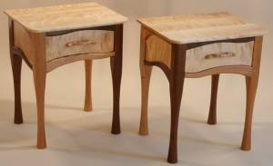 These matching nightstands are made of Vermont Black Cherry and Flame Birch, with Black Walnut that came from Pennsylvania