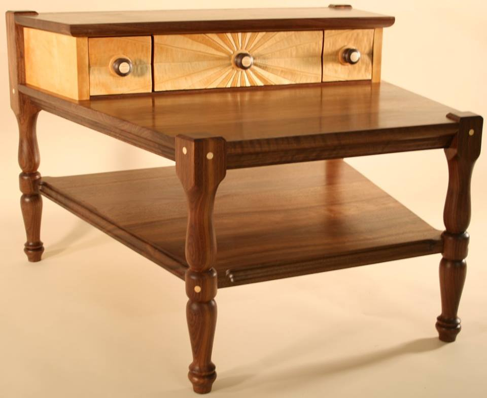 ... This Trapezoidal End Table Is Black Walnut And Vermont Flame Birch And  A Lot Of Fun